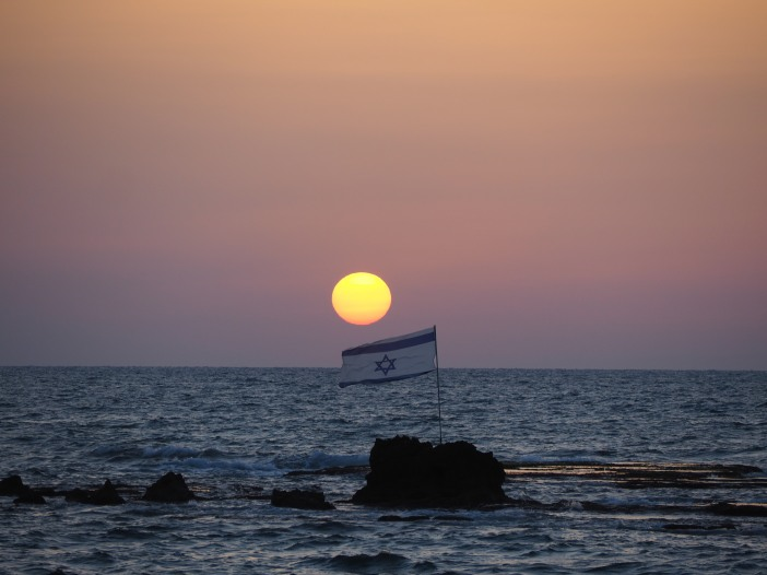 4. TelAviv.Sunset Over Israel Flag and Mediterrean - Copy